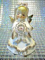 *RARE VTG* Lefton June Bride Birthday Angel Girl w Orig Tag Figurine EX