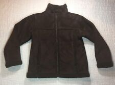 LL BEAN Coat Girls SZ M 10-12 Brown Faux Suede Jacket Short Warm Zip Up