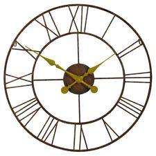 Rustic Large 76cm Vintage Skeleton Metal Wall Clock With Gold Hands