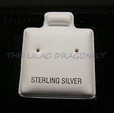 50 x Earring Jewellery White Puff Display Cards Pads 'Sterling Silver' (Used) UK