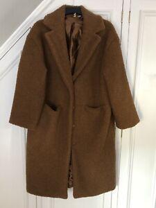 H&M DIVIDED Full Length Teddy Bear Coat Size M