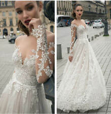 Luxury Wedding Dresses Bridal Ball Gowns Custom Sweetheart Neck Long Sleeve Lace