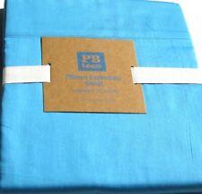 Pottery Barn Teen Essentials FLAT Sheet Teal Blue XL Twin F300 Thread Ct Cotton