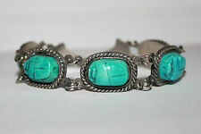Egyptian revival scarab beetle silver tone metal vintage bracelet Deco style 50s