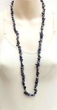 Gorgeous Lapiz lazuli gemstone long necklace .. nugget bead gem chip jewellery