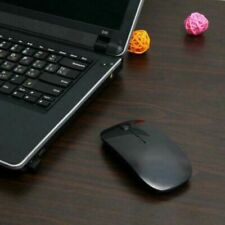 BLACK USB WIRELESS MOUSE SCROLL SLIM CORDLESS OPTICAL FOR USE WITH MAC PC LAPTOP