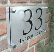LARGE HOUSE SIGN PLAQUE DOOR NUMBER STREET GLASS EFFECT ACRYLIC NAME PR28BS