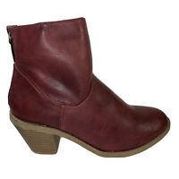 Madden Girl Glee Women's Ankle Boots Burgundy Round Toe Leather Look Zip Size 7