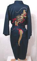Vintage Navy Blue Kimono Robe Dragon Embroidered EDIE ADAMS Japan XXL NWOT