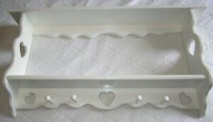 "WHITE Solid Wood Double Wall Display Shelf w/4=Shaker Pegs 36"" Long w/Hearts"