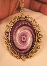 Lovely Picot Rimmed Violet Purple White Spiral Swirled Goldtone Pendant Necklace