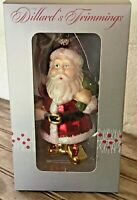 "Vintage Dillard's Trimmings Glass Santa Claus Christmas Ornament 6"" Boxed"