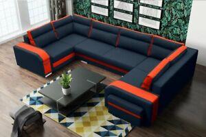 Huge Modern HASSAN U-shaped Sofa Bed Sleeping Function Storage Custom Colours