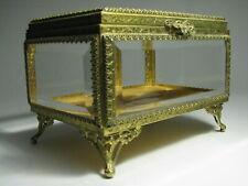 Vintage Filigree Ormolu Jewelry Casket With Beveled Glass Very Ornate Box