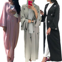 Dubai Open Front Abaya Women Maxi Dress Embroidery Cardigan Islamic Arab Robes