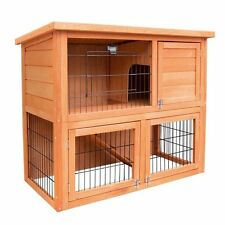 Rabbit Hutch Guinea Pig Chicken Chook Pen House Cage Wooden Pet 2 Storey 76cm