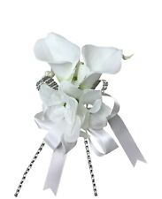 Wrist corsage:Real touch calla lily with Hydrangea Perfect for wdding,prom,event