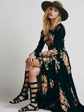 Free People First Kiss Black Garden Floral Maxi Dress Gown S Very Rare