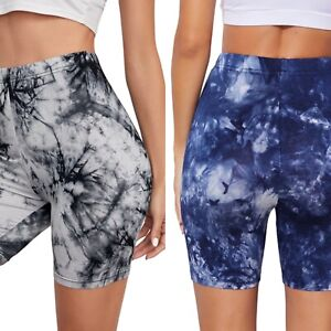 Women Girls UK Tie Dye Printed Crop Leggings Capri Pants Yoga Gym Cycling Shorts