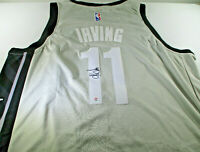 KYRIE IRVING / AUTOGRAPHED BROOKLYN NETS PRO STYLE GREY BASKETBALL JERSEY / COA