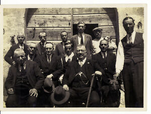 Group of men and two dogs Magliana Rome gelatin silver 1930 L486