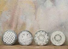 Set of 4 Antique Silver Etched Avani Drinks Coasters Indian Nkuku Artisan Gift