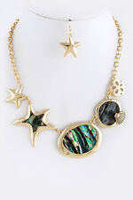 D3 Nacre Blue Green Textured Gold Starfish Seashell Opalescent  Necklace Earring