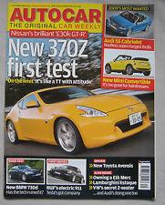 Autocar 3/12/2008 featuring BMW 730d road test, Nissan 370Z, Lamborghini Estoque