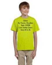 Gildan G200B Youth Safety Green Ultra  Cotton blend s/s T-shirt Verde Neon Nwot