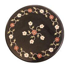 "18"" Decorative Black Marble Table Top Handmade Pietra Dura Work Home Decor"