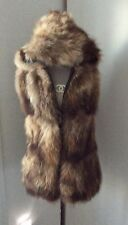 Real fox fur long hooded gilet vest pockets double zip fasten worn once Small