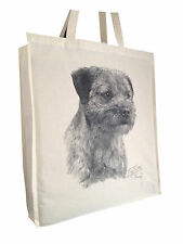 Border Terrier (b) Cotton Shopping Tote Bag with Gusset and Long Handles
