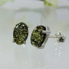 A322 Bernstein Ohrringe Earrings Amber Ambra Ambre 925 Silber Schmuck Grün