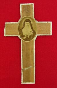 Vintage SAINT MARGARET MARY Cross HAZELNUT TREE APPARITION Religious Keepsake