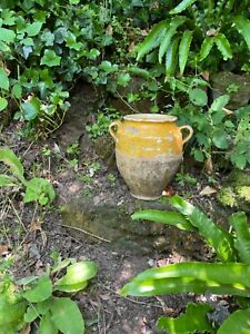 Antique French yellow confit pot