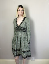 Vintage Style Green Floral & Paisley Indian Cotton Low V Neck Dress - S 6 8 10