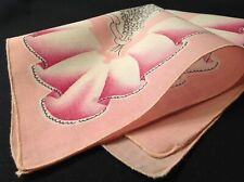#5588🌟Vintage 30s Cutter Floral Geometric Pink Lily Ofthe Valley Handkerchief