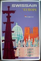 1958 Swissair To Euope Fritz Buhler Airline Travel Poster Vintage Original Linen