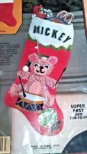 1984 Rennoc's Holiday Heirlooms CHRISTMAS Stocking Kit TEDDY BEAR DRUMMER