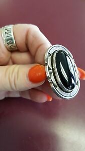 Size 9 black onyx sterling signed ring vhc