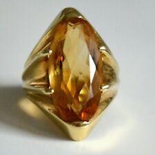 585 Gold Ring mit 10,0ct  großer Citrin im facettierten Schiff - 8,3 g Goldring
