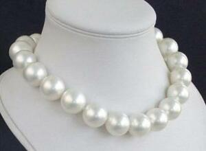 """BEAUTIFUL 18MM AAA WHITE SEA SHELL PEARL NECKLACE 18"""""""