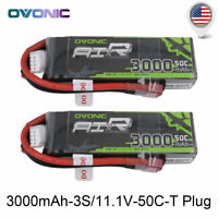 2X OVONIC 3000mAh 3S 11.1V 50C Lipo Battery W/ Deans Plug for RC Car Truk Boat