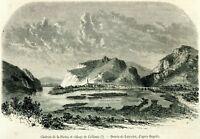 Calliano e Castel Pietra. Trento. Trentino. Stampa Antica + Passepartout. 1859