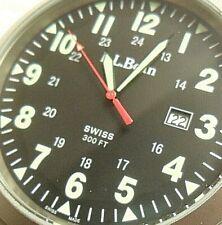 47 mm S/S Men's LL Bean 24 Hour Military Dial Swiss Quartz Watch w/ Strap Hanger
