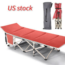 Lightweight Folding Camping Cot Foldable Outdoor Bed Red w/ Carry Bags Suede Mat