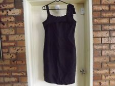 Anthea Crawford Stunning 100% Silk Black Dress with Shoulder Feature sz 12