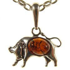BALTIC AMBER STERLING SILVER 925 TAURUS BULL ASTROLOGY PENDANT JEWELLERY JEWELRY