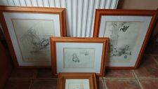 4 x Vintage Official Winnie the Poo beautiful wood framed numbered sketches
