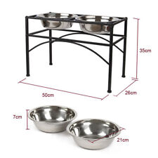 Large Pet Dog Elevated Double Bowl Feeders With 2 Free Stainless Steel Bowls